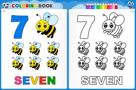 Coloriage numéro sept avec coloré feuille de travail imprimable échantillon préscolaire / maternelle des enfants pour améliorer les compétences de base de colorants Banque d'images - 44302086