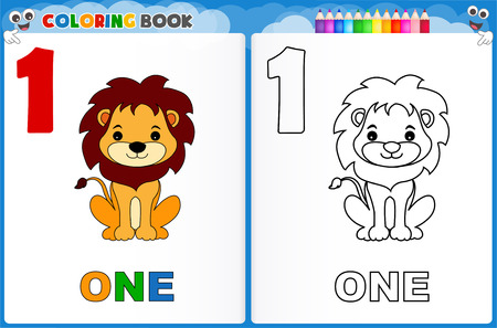 one animal: Coloring page number one with colorful sample printable worksheet for preschool  kindergarten kids to improve basic coloring skills Illustration