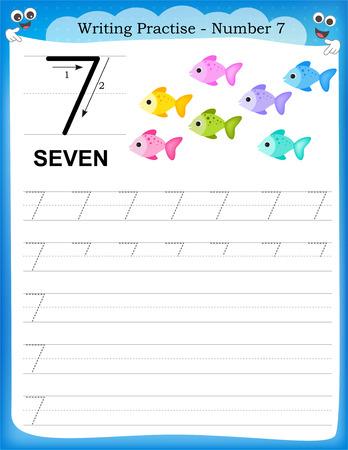 연습 번호를 유치원  유치원 아이들을위한 일곱 인쇄 할 수있는 워크 시트를 작성하는 것은 기본 쓰기 능력을 향상시키기 위해