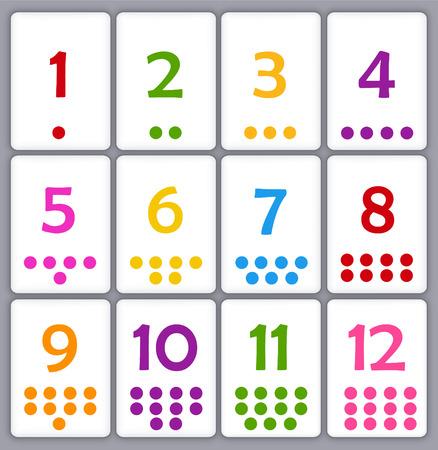 aprendizaje: Imprimir colletion tarjeta de memoria flash para los números con puntos para los niños de preescolar  jardín de infantes | vamos a aprender los colores Vectores