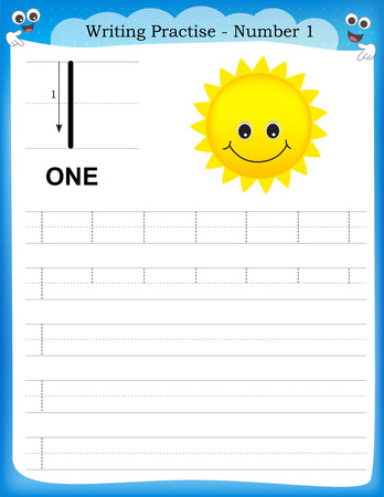 Writing practice number one printable worksheet for preschool / kindergarten kids to improve basic writing skills