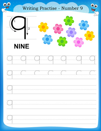 Writing practice number nine printable worksheet for preschool / kindergarten kids to improve basic writing skills Illustration