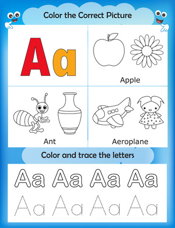 literate: Alphabet learning letters & coloring graphics printable worksheet for preschool  kindergarten kids. Letter A Illustration