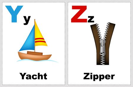 Alfabet afdrukbare flashcards collectie met letter Y, Z