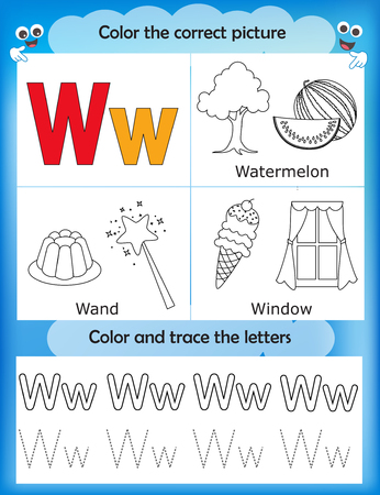 Alphabet learning letters coloring graphics printable worksheet alphabet learning letters coloring graphics printable worksheet for preschool kindergarten kids letter w ibookread PDF
