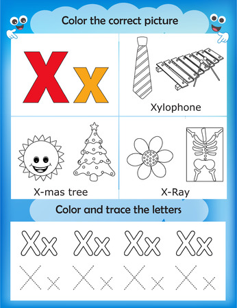 ray tracing: Alphabet learning letters & coloring graphics printable worksheet for preschool  kindergarten kids. Letter X Illustration