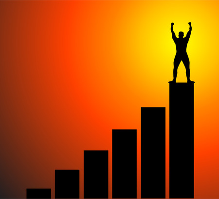 business, success, leadership, achievement and people concept - silhouette of businessman on top of the bar chart