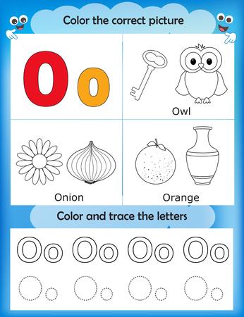 Alphabet learning letters & coloring graphics printable worksheet for preschool / kindergarten kids. Letter O