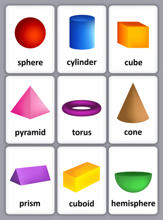 Printable card sheet of a collection of colorful 3D shapes with their correct name for kindergarten / preschool kids