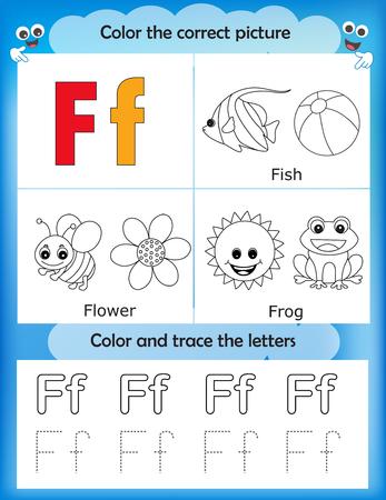 Alphabet learning letters & coloring graphics printable worksheet for preschool / kindergarten kids. Letter F