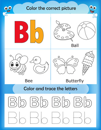 b ball: Alphabet learning letters & coloring graphics printable worksheet for preschool  kindergarten kids. Letter B Illustration