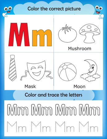 Alphabet Learning Letters Coloring Graphics Printable Worksheet