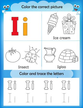 letter i: Alphabet learning letters & coloring graphics printable worksheet for preschool  kindergarten kids. Letter I