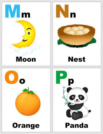 Alphabet printable flashcards collection with letter M N O P 免版税图像 - 62401941