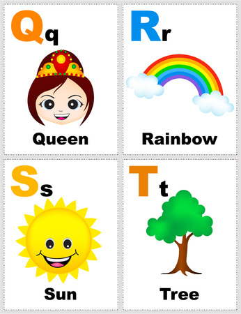phonetic: Alphabet printable flashcards collection with letter Q, R, S, T