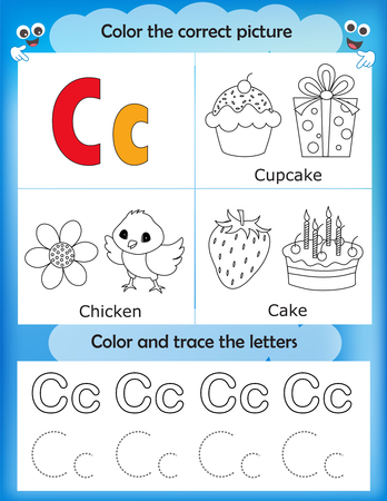 writing letter: Alphabet learning letters & coloring graphics printable worksheet for preschool  kindergarten kids. Letter C Illustration