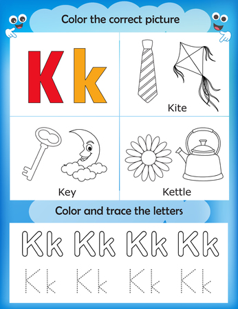 literate: Alphabet learning letters & coloring graphics printable worksheet for preschool  kindergarten kids. Letter K