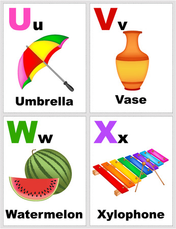 Alphabet printable flashcards collection with letter U, V, W, X