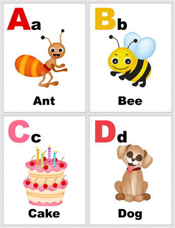 Alphabet printable flashcards collection with letter a,b,c,d with pictures