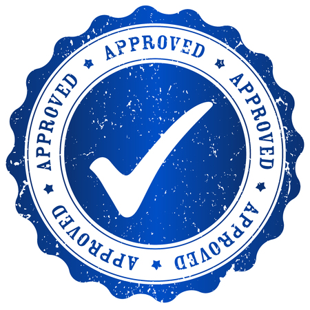 approved button: Approved rubber stamp blue grunge isolated on white background