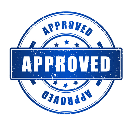 acception: Approved rubber stamp blue grunge isolated on white background