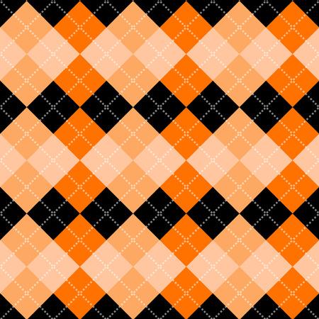 orange background: Seamless argyle pattern. Diamond shapes background. Vector
