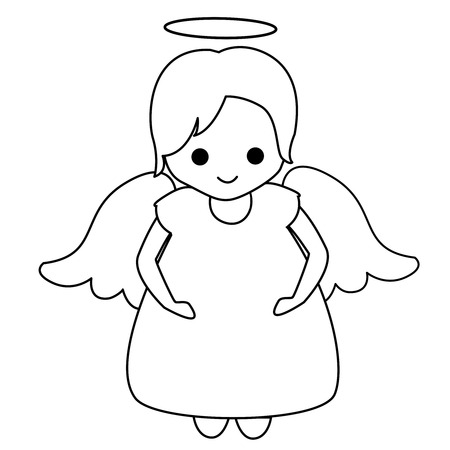 lineart: Little fairy  angel lineart for kids coloring books Illustration