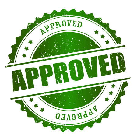 permitted: Approved rubber stamp green grunge isolated on white background