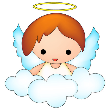 clouds clipart: fairy  angel on clouds clipart isolated on white