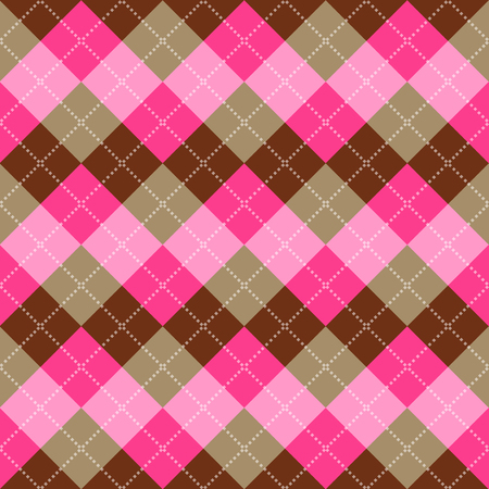 pink brown: Seamless argyle pattern. Diamond shapes background. Vector