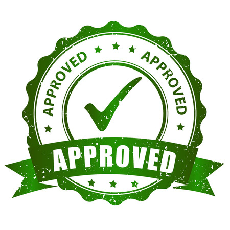 acception: Approved rubber stamp green grunge isolated on white background