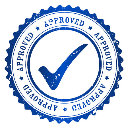 approved stamp: Approved rubber stamp blue grunge isolated on white background