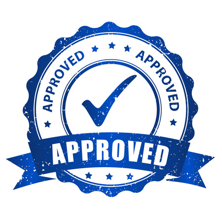 proved: Approved rubber stamp blue grunge isolated on white background