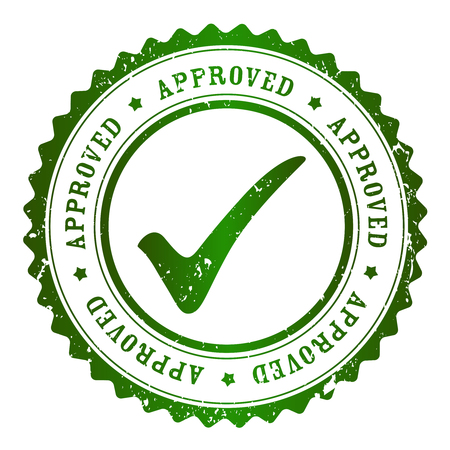 proved: Approved rubber stamp green grunge isolated on white background