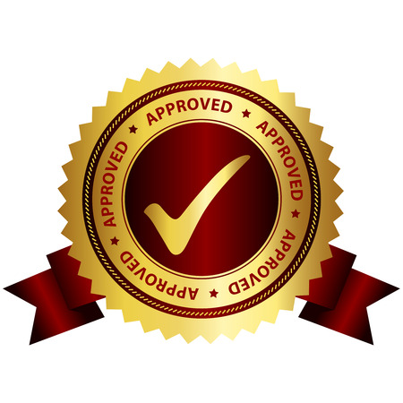 acception: Approved rubber stamp gold and red grunge isolated on white background Illustration