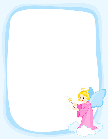 beauty girls: fairy  angel border frame on white