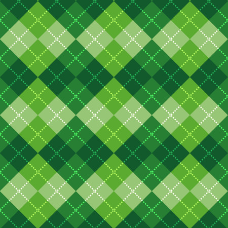 green texture: Seamless argyle pattern. Diamond shapes background. Vector