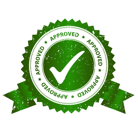 Approved rubber stamp green grunge isolated on white background