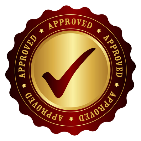 permitted: Approved rubber stamp gold and red grunge isolated on white background Illustration
