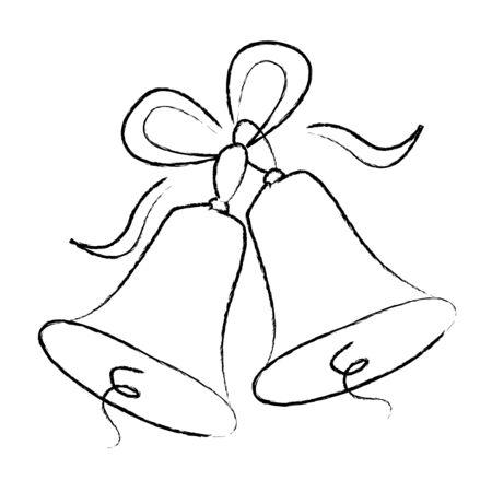 Illustration d'une élégante couleur noire cloches de mariage avec des rubans isolés n fond blanc Vecteurs