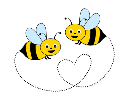 Cute little bees isolated on white background illustration