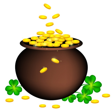Gold coin pot with shamrock. St. Patricks day design for good luck