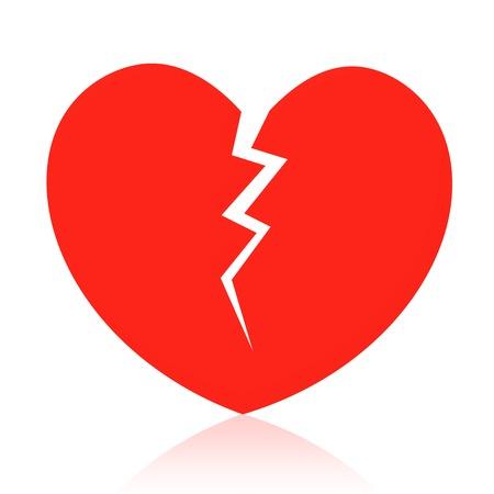 Gebrochenes Herz isoliert auf weiss Vektorgrafik