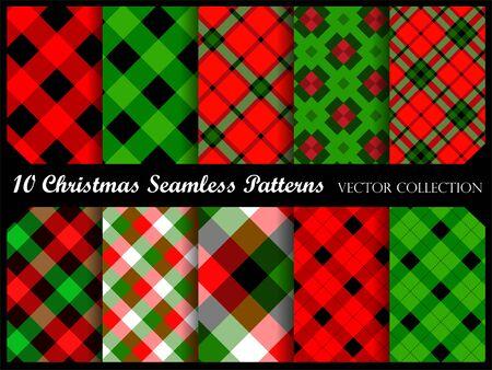 Colección de patrones de fondo de Navidad en rojo y verde