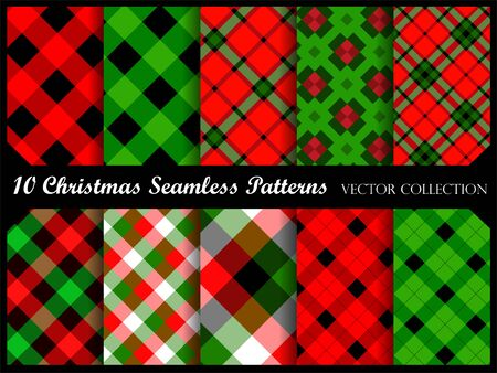 Christmas background pattern collection in red and green Illustration