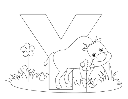 preschool child: Animal alphabet coloring book illustration with outlined graphics to color