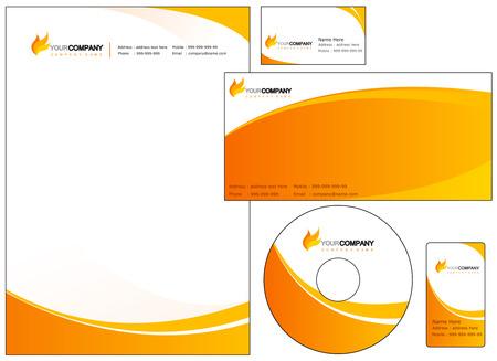 Conjunto de elementos de identidad corporativa. fácil de personalizar tarjetas de sobres con membrete de la cubierta del CD de DVD y de negocios