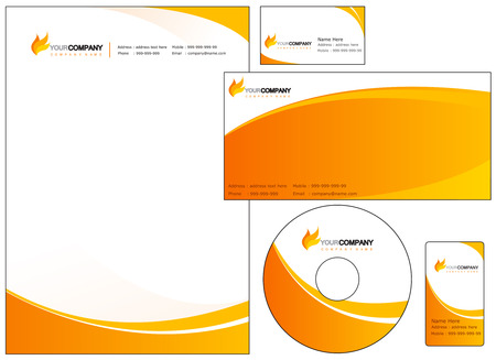 Set di elementi di identità aziendale. facile da personalizzare copertine CD DVD busta intestata e biglietti da visita