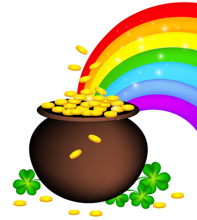 Gold coin pot with shamrock and rainbow. St. Patrick's day design for good luck