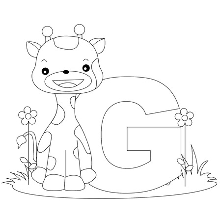 g giraffe: Animal alphabet coloring book illustration with outlined graphics to color